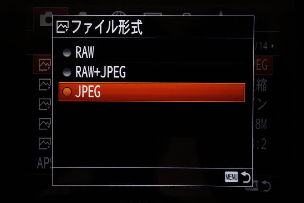ファイル形式をJPEGに変更