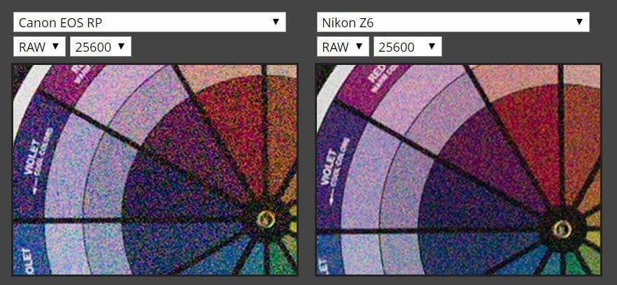 EOS RP(ISO 25600)とZ 6(ISO 25600)の比較